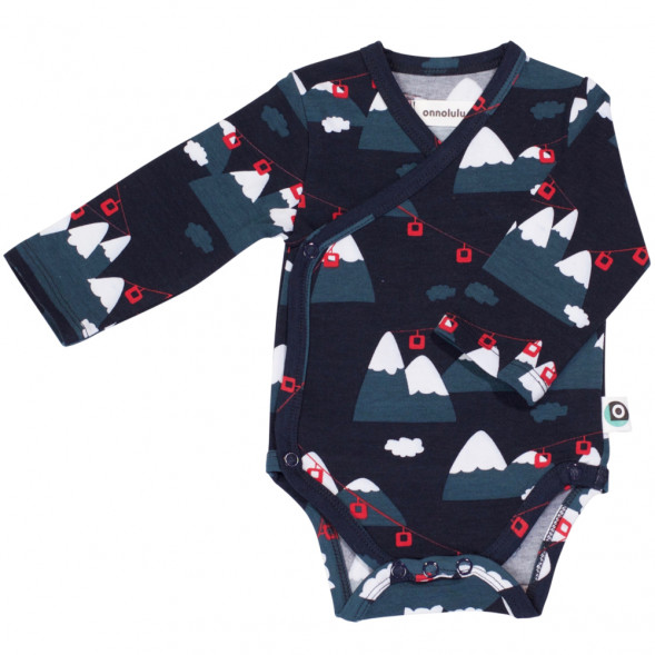 "Body manches longues kimono en jersey de coton bio ""Alpes"""