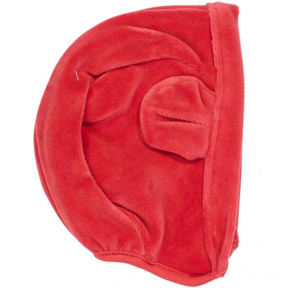 """Bonnet bébé en velours de coton bio """"Floor Rouge"""""""