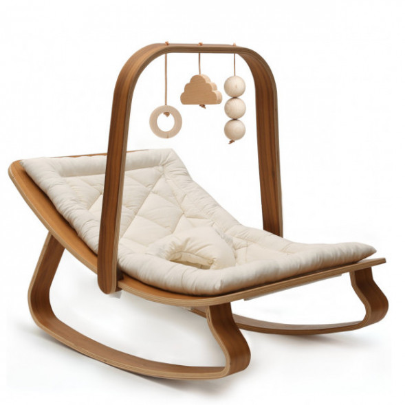 Transat Levo + Assise au choix + Arche d'éveil en bois de noyer