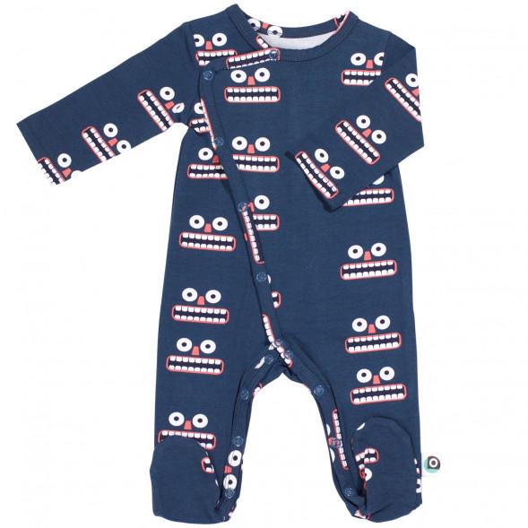 "Pyjama bébé avec pieds en jersey de coton bio ""Happy"""