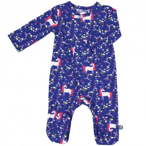 "Pyjama bébé avec pieds en jersey de coton bio ""Licorne"""
