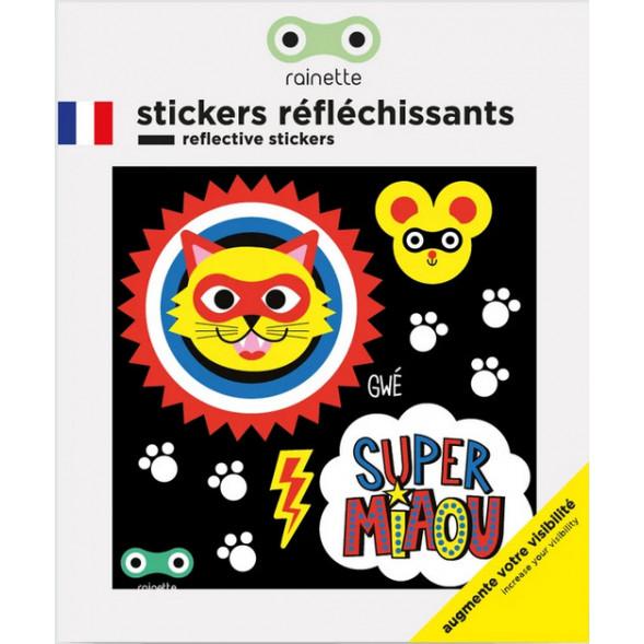 """Stickers réflechissants pour vélo et accessoires """"Super Miaou"""""""