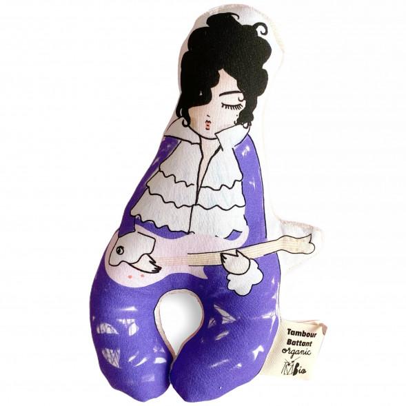 """Hochet bébé en coton bio """"Mr Purple Rain"""""""