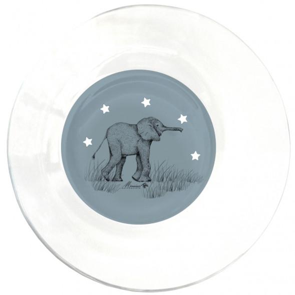 """Assiette creuse en verre """"Elephant Gris"""" (17,5 cm)"""