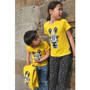 T-shirt enfant manches courtes en coton bio Zèbre coq en pâte